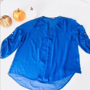 Blue sheer dress up shirt.